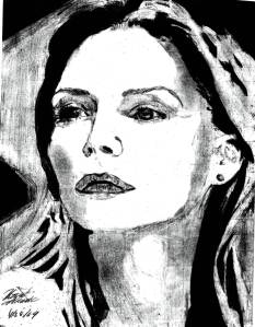 This is an older drawing of when I first tried to draw Pfeiffer, it's good but lacks detail in value so you can't tell who it is until you see the pic, but it is 100 % like the structure because I knew her shape.