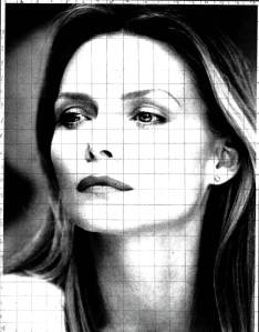 This is the grid i used to draw Michelle. I either use to use grids and outlines/coloring pgs computer made with black and white photos and used them as guides to draw the structure the first time.