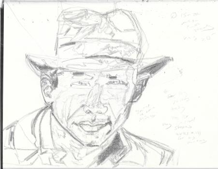 Harrison Ford as Indiana Jones Before Drawing